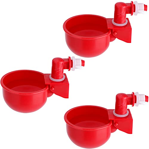HiCamer Automatic Chicken Filling Water Cup Poultry Waterer Kit Auto Watering Drinker System Drinking Feeder Cup for Ducks Turkeys Quail Chicks (3 Pack)