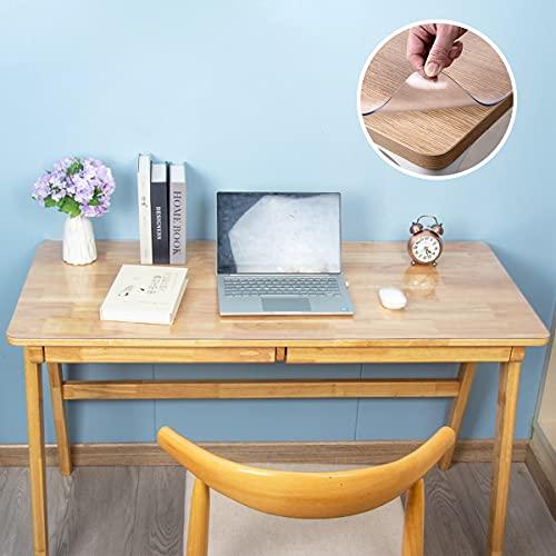WASJOYE Alfombrilla de escritorio transparente antideslizante con bordes redondos, alfombrilla de escritorio de PVC texturizada para escritorio de oficina y hogar (91,5 x 50,8 cm)