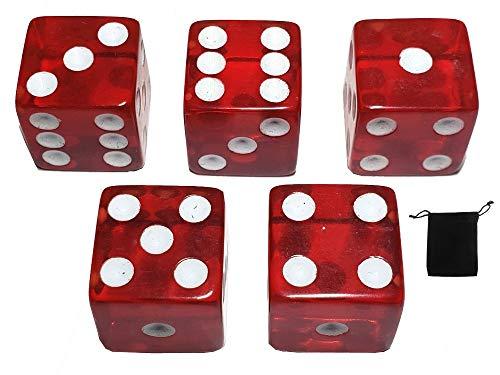 Cyber-Deals Würfel, 16 mm, transparent, quadratisch, mit schwarzem Samtbeutel, 5 Stück, rot