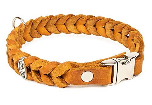 CopcoPet - Fettleder Halsband geflochten mit einem klick-Verschluß aus Metall, in Cognac 50 cm x 20 mm