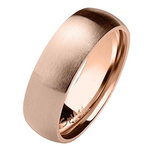 Paula & Fritz® matt poliert 6mm breit Edelstahlring Damen-Ring Verlobungs-Ring Freundschaftsring Herrenring Partnerring Dome roségold 47 (15)