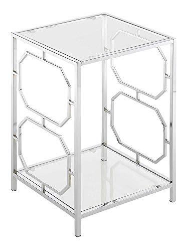 Convenience Concepts Omega Chrome End Table, Clear Glass / Chrome Frame