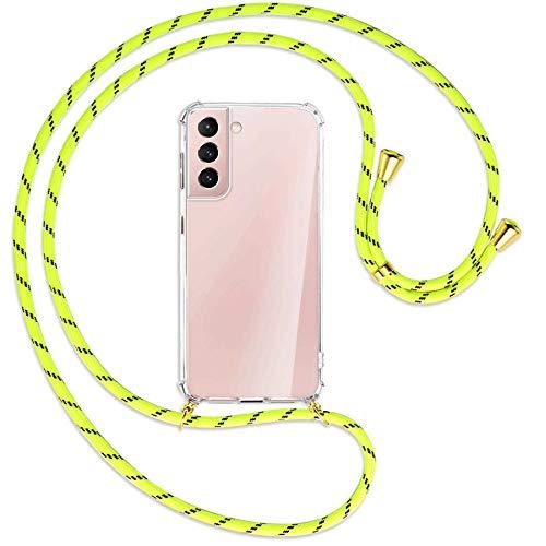 mtb more energy® Collana Smartphone per Samsung Galaxy S21 Plus, S21+ 5G (SM-G996, 6.7') - Strisce Giallo Neon/Oro - Custodia indossabile per Collo - Cover a Tracolla con cordina