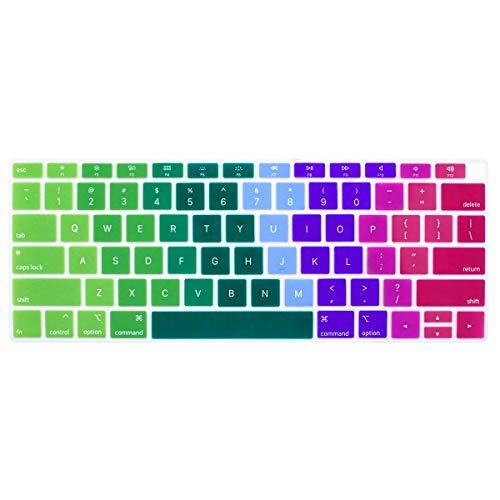 Laprite Funda para teclado ultra fina de silicona para MacBook Air 13 pulgadas 13.3 pulgadas con Touch ID (A1932, 2018 lanzamiento), protector de teclado, arco iris