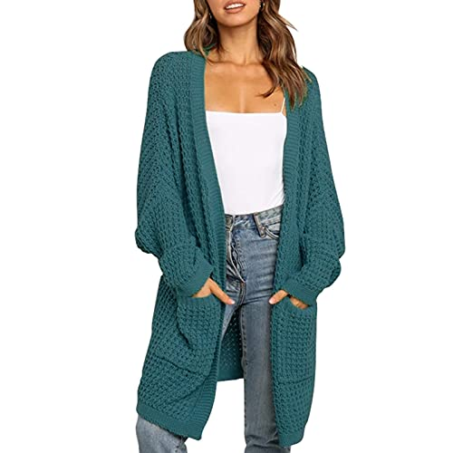 EpicLife Casual Cardigan suéteres para mujeres Color sólido manga larga oversize punto Cardigan Otoño Invierno Chaqueta, verde oscuro, S