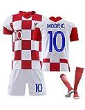 SUSIE 10 Modric,Neues kroatisches Trikot Kinderfußballtrikot,Supporters Trikot, 2021 Kroatien Home und Away, Sportkleidung für Erwachsene mit Fußballsocken Kariertes Hemd