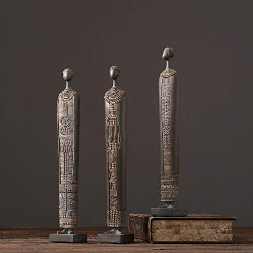 Afrikansk Figure Tribal Människor Konst Staty Dekorativ Heminredning Skulptur Samlarobjekt Figuriner Handmålade Moderna Ornament,3pcs