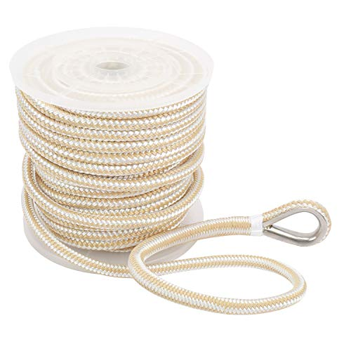 NovelBee 1/2 Inch X 100 Feet Double Braid Nylon Anchor Line with Stainless Steel Thimble and Plastic Chuck (White/Gold)