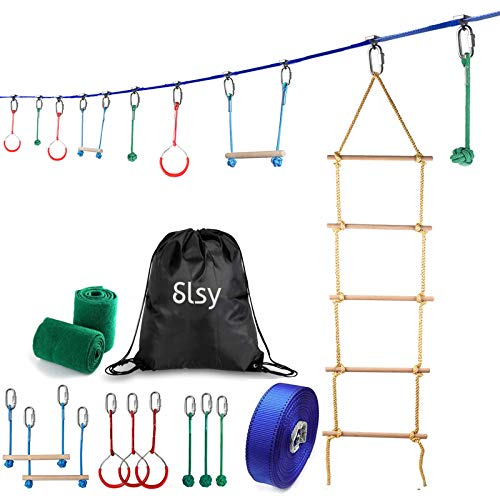 Slsy Ninja Obstacle Course for Kids, 40ft Slackline Hanging Monkey Bar with Climbing Ladder, Kids Warrior Training Equipment 440lb Capacity