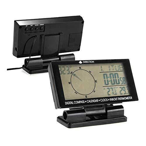 Boomboost - 5in1 Thermomètre numérique de Voiture Blue Backlight Compas de Voiture à l'intérieur de la température extérieure Compteur Horloge Calendrier