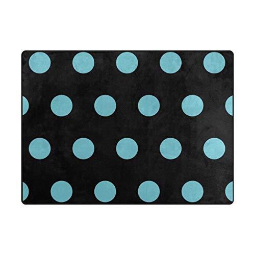 FANTAZIO vloermatten Aqua Blauw Polka Dot gebied tapijt Rechte tapijt Gripper polyester voor Hoeken en Edge Anti-Curling Ideaal tapijt Stopper Voor Keuken/Badkamer 63x48in/80x58in 63 x 48 inch 1 exemplaar