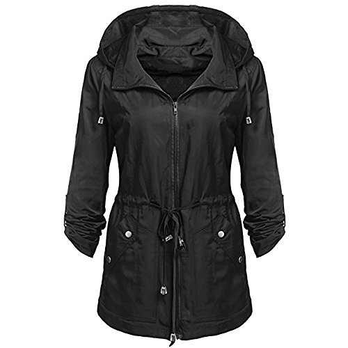 Xuthuly wasserdichte leichte Regenjacke für Damen Military Cargo Mesh Kapuzenmantel Lässige einfarbige Reißverschluss Dünner Mantel Streetwear