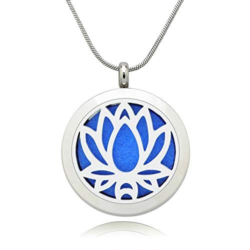 Lademayh Essential Oil Necklace Diffuser Lotus Pendant Locket Aromatherapy Diffuser Jewelry, Perfume Necklace with 2 pcs Chains & 12 Pads