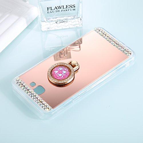 Estilo de bajo perfil del teléfono de silicona Funda for teléfono for Samsung Galaxy A5 (2017) Funda protectora con espejo de electrochapado con incrustación de diamante con soporte for anillo anticaí