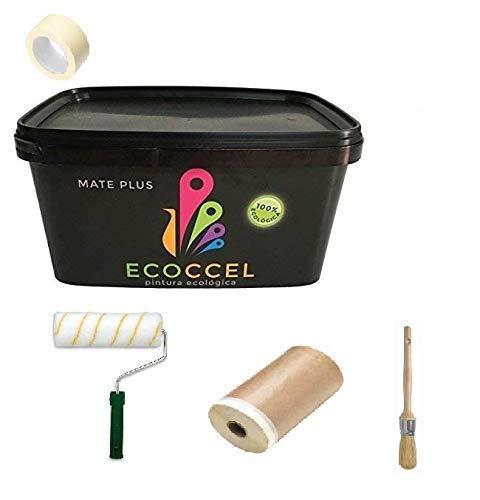 ECOCCEL, Pack pintor, pintura pared interior y exterior ECOLOGICA (4 lt), más rodillo, brocha, papel cinta y cinta carrocero. (Gris claro (S 1500 N))