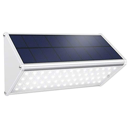 Solar Powered Motion Sensor Light Outdoor 56 LED Security Wall Light 1000 Lumen Aluminum Alloy Wireless Waterproof Lighting for Fence Garden Garage Stairs Driveway Patio