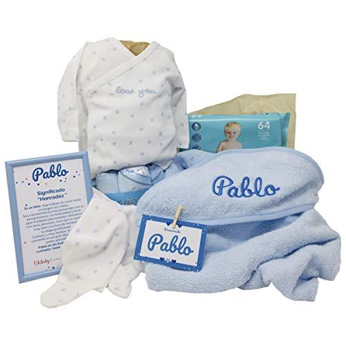 Dulces Sueños de Mababy - Canastilla Bebé Personalizada - Cesta Regalo Recién nacido (Azul)