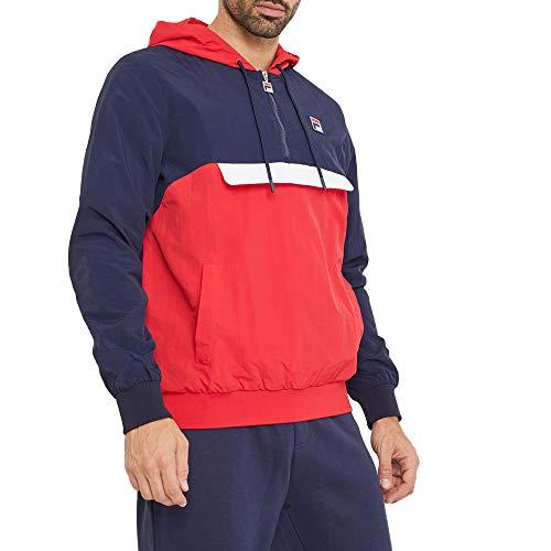 Fila Mens Macker 2 Half Zip Hooded Windbreaker Jacket Navy/Red L