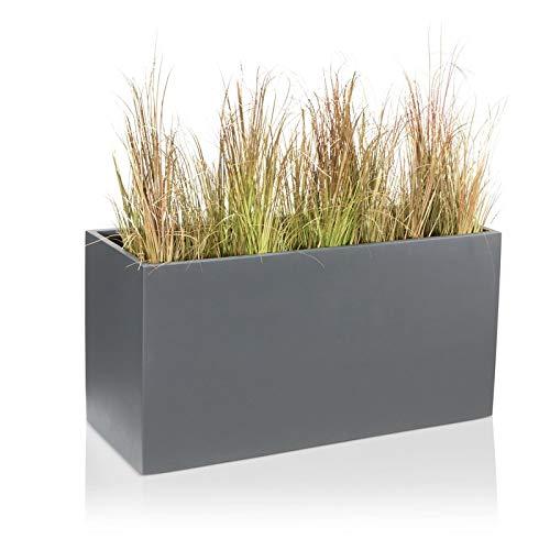 DECORAS Pflanzkübel Blumentrog VISIO Fiberglas Blumenkübel - Farbe: grau matt - großer Wetter- und winterfester Pflanztopf, robuster & UV-beständiger Pflanztrog - TÜV-geprüfte Qualität