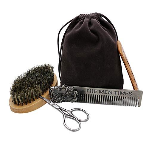 Harilla Kit de 4: Cepillo para Barba Portátil/Tijera para Barba/Peine para Piojos/Peine de Dientes Anchos