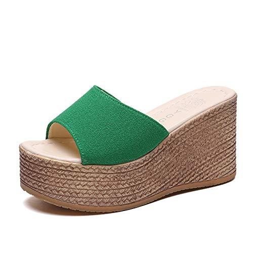 YYFF Zapatillas de Moda de Verano,Aumente Las Zapatillas Salvajes, Pendiente con una Palabra-Green_38,Sandalia Tipo Chancla con