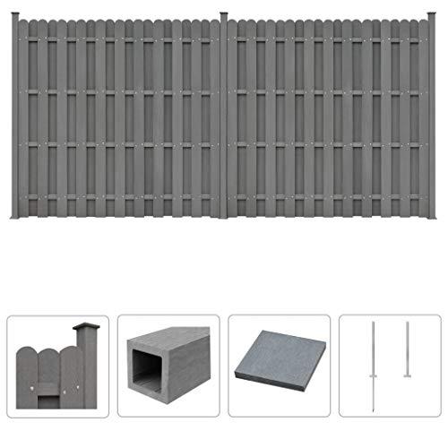 Festnight- WPC Zaun-Set inkl 2 Quadratelemente 376 x 185 cm Grau | WPC-Sichtschutz Sarthe Windschutz Zaun Gartenzaun | Wetterfest Dichtzaun Für Balkon Terrasse Schwimmbad
