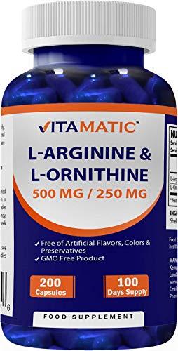 Vitamatic L-Arginine 500 mg/L-Ornithine 250 mg 200 Capsules