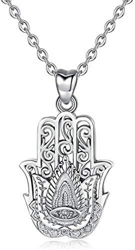 DUEJJH Co.,ltd Collar 100% Plata 925 Hamsa Colgante de Mano Collar de Buena Suerte Encanto joyería Fina niña niño cumpleaños Regalo Sorpresa