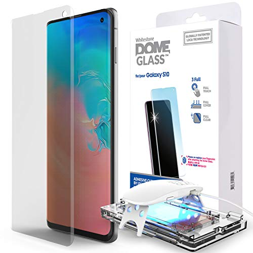 Galaxy S10 Displayschutzfolie [Kuppelglas] Voller 3D-Schutz aus gehärtetem Glas mit gekrümmten Kanten [Liquid Dispersion Tech] Leicht zu installierendes Kit und UV-Licht für Samsung Galaxy S10 - Eine Packung