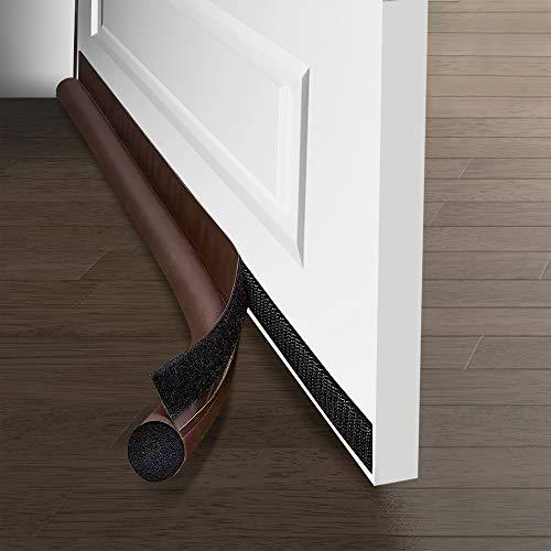 Ewolee Paraspifferi per porta, 95 cm, rimovibile per porta inferiore, insonorizzata, autoadesivo, striscia di tenuta per porta (marrone)
