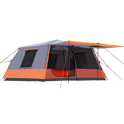ZoSiP Outdoor Camp Folding Tent Outdoor Camping For 6-10 People Without Building A Fully Automatic Two-bedroom One-lobby Multi-person Tent (Color : Orange, Size : 460X305X210CM)