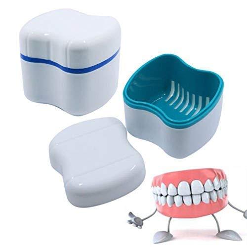 Estuche para dentaduras postizas de viaje con tapa Vaso de dentadura plástica, con Cesta de Enjuague Taza de Dentadura Caja de Almacenamiento de Dientes Postizos para Adultos