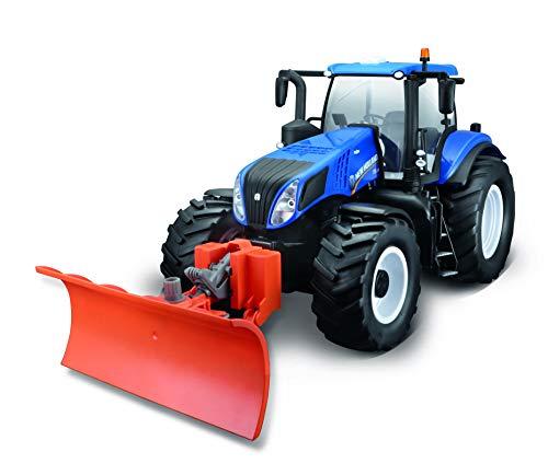 Maisto Tech R/C New Holland Traktor T8.320 mit Schneeschieber: Ferngesteuerter Traktor mit Licht und abnehmbaren Schneepflug, mit Stick-Controller, ab 8 Jahren, 35 cm, blau (582303), 82303