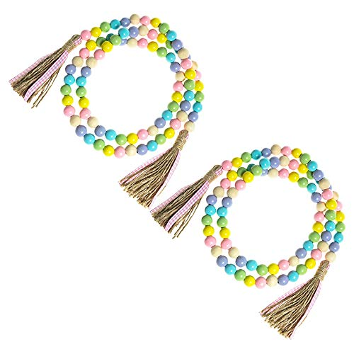 Baalaa 2 Pcs Easter Wood Bead Garland 58 Inch Farmhouse Rustic Spring Beads Garland Tiered Tray Decoration with Tassels Decor,B