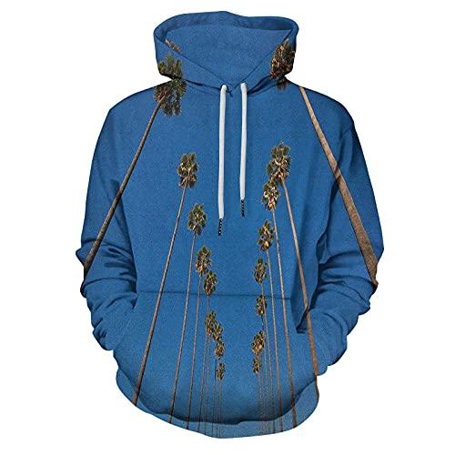 Printed Hooded Sweatshirt Tree Palms and Clear Blue Sky Scene for Men/Women