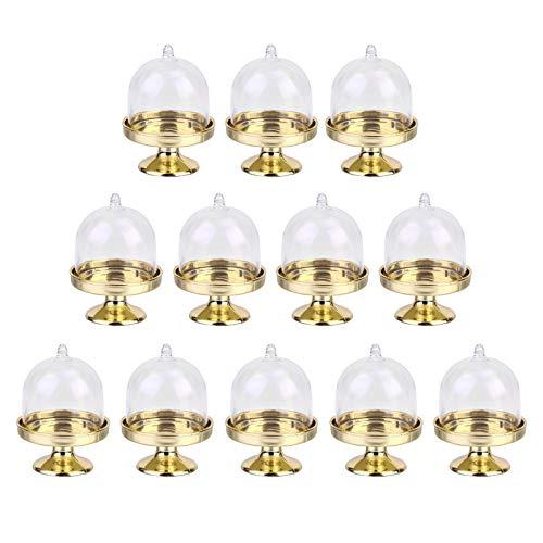 Mini Soporte para Tartas Expositores de Dulces Mini Soporte Pastel Plástico Transparente Soporte para Tartas Soporte para Boda, Decoración de Mesa, Caja de Regalo para Invitados, Fiesta—Dorado