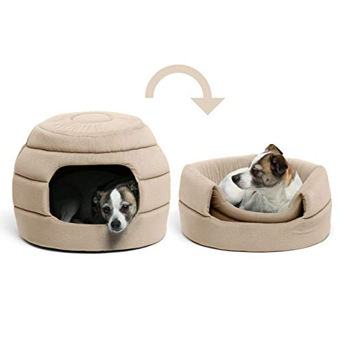Best Friends by Sheri Convertible Honeycomb Cave Bed, Cozy Covered Dog & Cat Tent Great for Your Small Pet & Puppy, Easily Convert into Round Open Cuddler - Removable Insert + Machine Washable