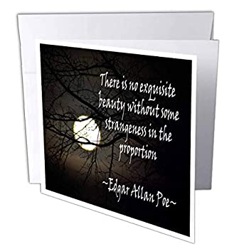 3dRose WhiteOaks Photography and Artwork - Inspirational - Edgar Allan Poe No Exquisite is a Photo of The Moon with a Quote - 6 Greeting Cards with envelopes  gc_265357_1