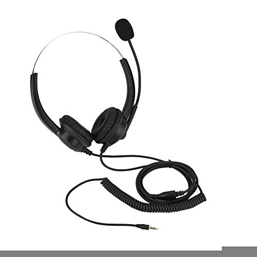 Corded Headset for Call Center, Corded Telephone Headset Desk Phone Headphones with Noise canceling Microphone for Telephone Counseling Service, Office Landline Phones, Desktop Box(3.5 mm)