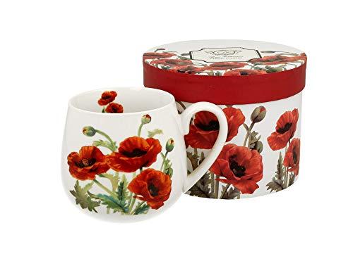 Tee-Tasse Kaffeetasse Kaffeebecher Teebecher Variante OHNE Sieb und Deckel Porzellan Teetasse bauchig Geschenk-Tasse Blumen Cup 400 ml von DUO in Geschenkbox Becher (Mohn Classic OHNE Filter)