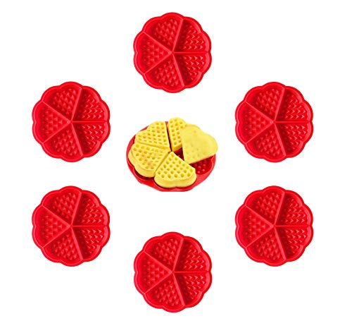 rosepartyh Silikon Waffelform Waffelbackform Waffelformen Waffeln Waffle Silikonwaffelform Silikonform Formkuchenform Backform Kuchenform Formen Herz 6 Stück