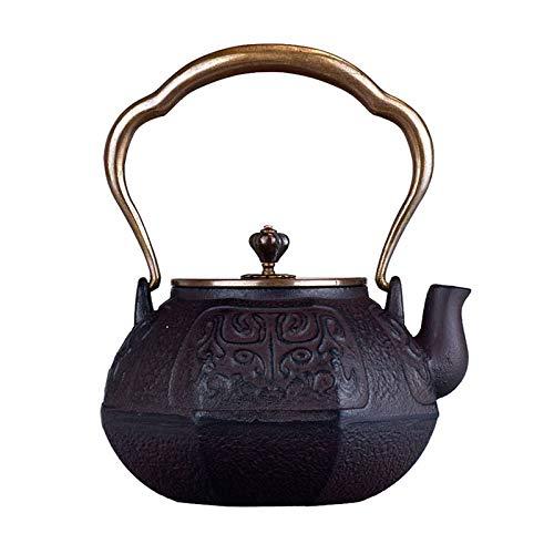 JYSXAD Tetera de hierro fundido de estilo japonés con fondo plano, tapa de cobre y cuerpo de hierro fundido (1,1 l marrón oscuro)