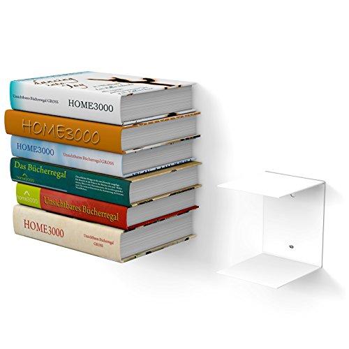 home3000 1 grande libreria bianca invisibile, con 2 scomparti per libri grandi fino a 30 cm di profondità e per libri alti 50 cm