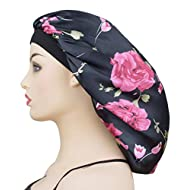 Extra Large Satin Sleep Bonnet Cap for Women & Girls, Elastic Wide Band Satin Bonnet Sleeping Night Cap & Hat for Natural Curly Hair Long Braids, Rose