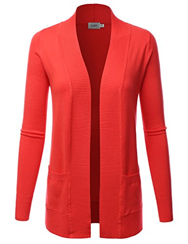 LALABEE Women's Open Front Pockets Knit Long Sleeve Sweater Cardigan-HOTCORAL-S