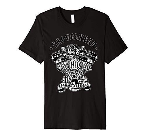 ShovelHead American Motorcycle Legend HD VTwin Engine Skull Premium T-Shirt