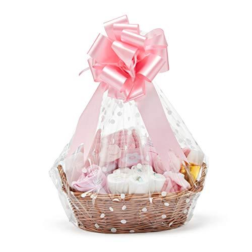 Baby Box Shop - Korb für Baby Shower Mädchen mit Baby Sachen, Notwendigen für Neugeborene, Tuch, Einhorn Schnuller und Rassel