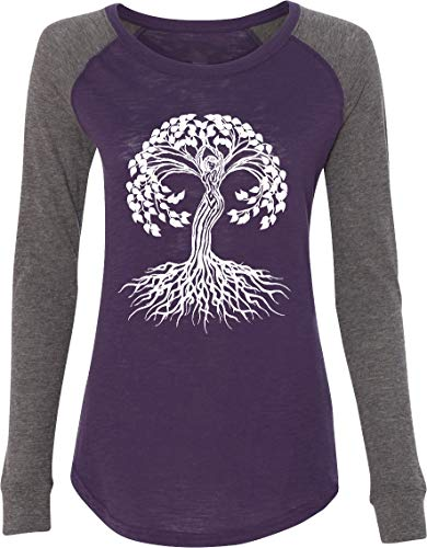 White Celtic Tree Preppy Patch Elbow Yoga Tee Shirt, Purple Medium
