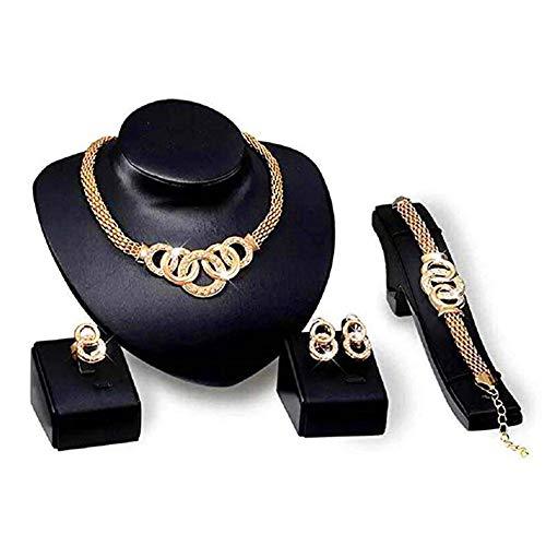 Scpink Angebote Halskette + Ohrringe + Armband + Ringe Schmuck Set Womens Hochzeit Strass Kette Halskette Ohrringe Schmuck (Gold)