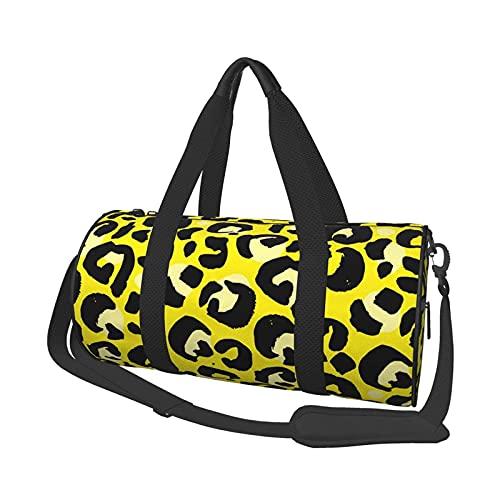 Bolsa de deporte para gimnasio, diseño de leopardo, redondo, ligera, plegable, con compartimento para zapatos y bolsillo mojado para mujeres o hombres